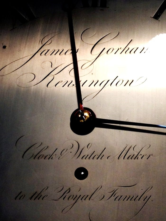 Detail of the longcase clockface. Photo Raffety Clocks