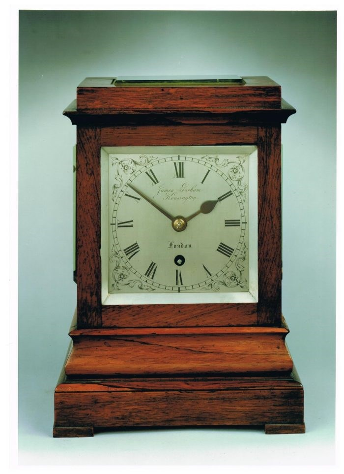 Four Glass table Clock by James Gorham. Photo Raffety Clocks.