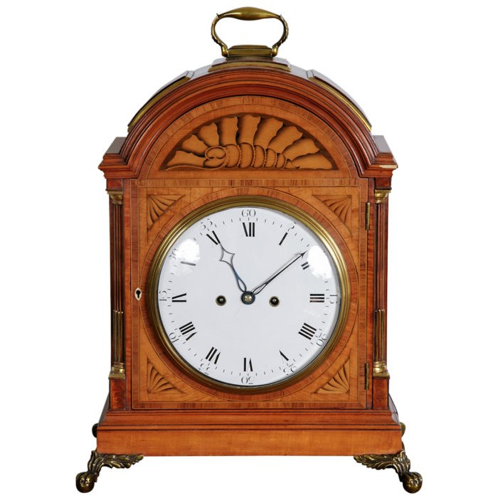 Satinwood Bracket Clock by Thomas Wright, Poultry. Watchmaker to the King. Circa 1785. To be shown at Design Shanghai. Raffety Ltd.