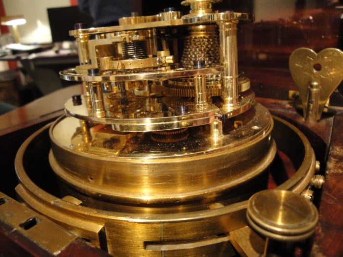 Detail of Wieland's marine chronometer, showing the fusee movement and spring. Raffety Antique Clocks
