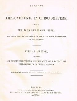 The title page of Eiffe's book on his improvements to chronometers, 1842