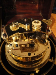 Detail of the interior of Wieland's marine chronometer, with Eiffe's patented temperature compensator. Raffety Antique Clocks