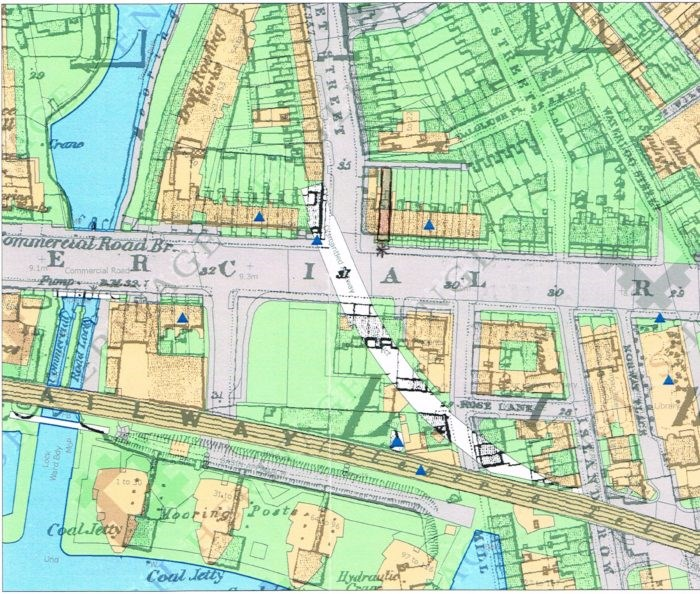 Ordnance Survey map showing 12 Warkworth Terrace and its proximity to the Regent Canal and Limehouse Basin. Copyright HMSO