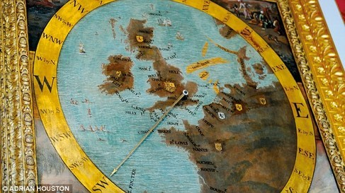 Detail of the Map on the Wind Dial, Kensington Palace