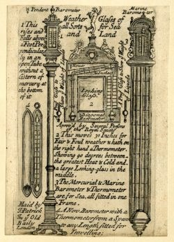 Advertisement for Barometers by John Patrick, c.1705-1715. British Museum, Ilbert Collection. Accession number 1958,1006.3050. Copyright The Trustees of the British Museum