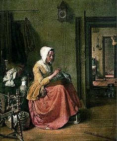 Painting of a house interior with wall clock. Artist unknown.