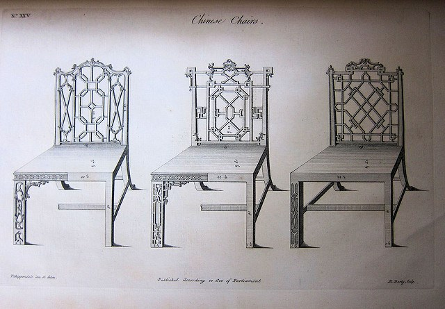 Designs for chairs in the Chinese taste by Thomas Chippendale. Circa 1754