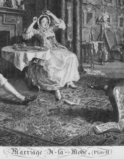 Detail of William Hogarth's Marriage a la Mode, Plate 2, showing the occasional table and card table in the background. Circa 1745