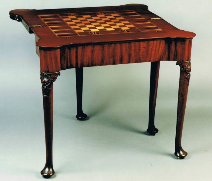 Detail showing the 2nd tier of the games table, chess and backgammon board in inlaid woods. Circa 1740. Raffety Ltd.