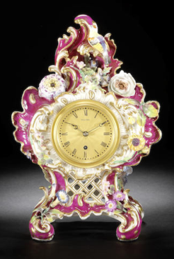 Pink & gilt floral Coalport porcelain clock by Vulliamy, London