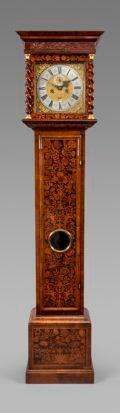 Walnut and marquetry longcase clock signed 'Carolus Cabrier, Londini Fecit.' Circa 1690. Raffety Ltd.