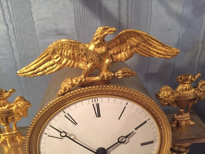 Detail of the ormolu eagle on the large classical clock with lion by Baetens, Soho. Raffety Ltd.