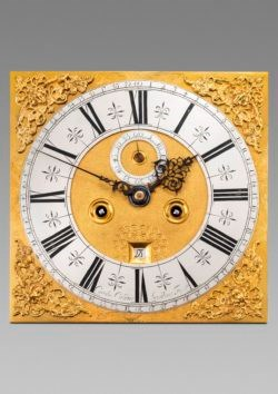 Detail of the dial on longcase clock by Carolus Cabrier, with gilt spandrels. Raffety Ltd.