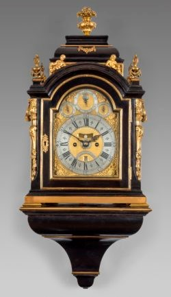 Ebony & gilt striking bracket clock by Charles Cabrier II. Circa 1730. Raffety Ltd