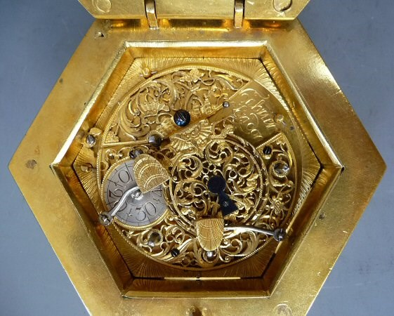 Detail of the movement in the hexagonal table clock by Charles Cabrier II. Circa 1760. Courtesy Van Dreven Antiquair.