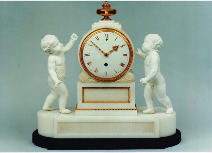 Biscuit porcelain and marble clock by Benjamin Vulliamy
