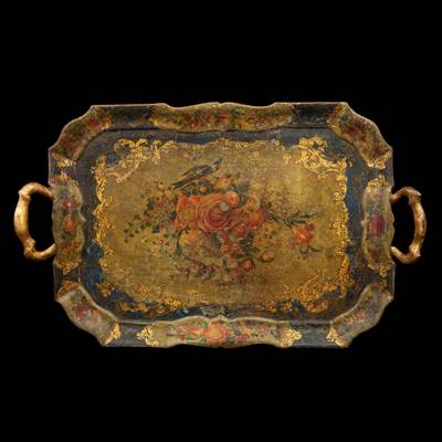 A lacquered tray, decoration with flowers and bird, Venice, middle of 18th century