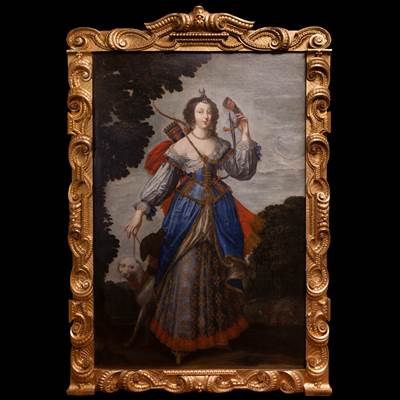 An exceptional oil on canvas, Diane huntress, attributed to Claude Deruet, a French painter (1588-1660), in an important carved and gilded Italian frame, 19th century (with the frame : 256 cm x 172 cm, without the frame : 213 cm x 140 cm)