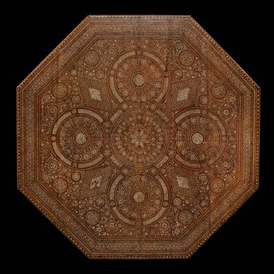 An important octagonal bone inlaid center table, Venice, Italy, the top early 17th century, the basement 19th century (140 cm diameter, 79 cm high