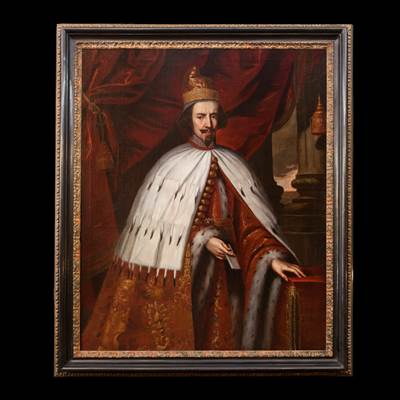 An oil on canvas, a ceremonial portrait of Bertuccio Valier or Valiero, the 102th Doge of Venice (1656-1658), Venetian school, middle of 17th century, with an ebonized frame, 17th century