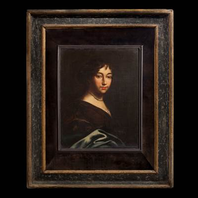 An oil on canvas, portrait of a young aristocrat, Italian school, 17th century in an Italian frame, 17th century