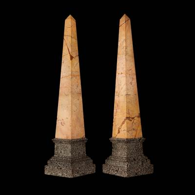 A pair of Numidia yellow marble obelisks, basement in green-grey granite, Rome, Italy, 19th century (74 cm high, basement : 17 cm x 17 cm)(29 in. high, basement : 7 in. x 7 in.)