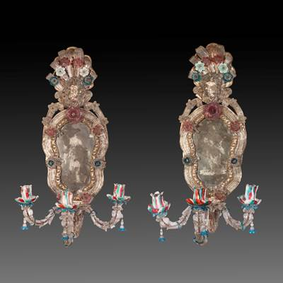 A pair of engraved and colored blown glass mirrors, 3 arms of light, Venice, late 18th century
