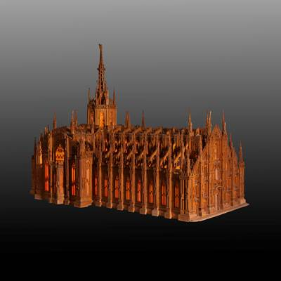 A rare wood model of the Milan cathedral, dated inside 1936-1938 (135 cm x 80 cm, 95 cm high)(53 in. x 31 in., 37 in. high)