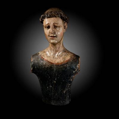A wood and lacquered bust of a mannequin, South of Italy or Spain, 17th century